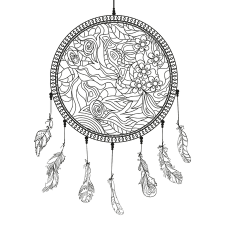 detailed image: Dreamcatcher. Feathers. Tattoo art, mystic symbol. Abstract feathers. Prints for polygraphy and textiles. American Indians symbol. Design for spiritual relaxation for adults. Zen art. Decorative style