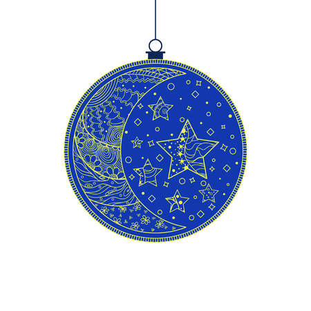 Christmas tree toy. Happy New Year. Half moon and stars. Hand drawn christmas ball with abstract patterns on isolation background. Design for spiritual relaxation for adults. Line art creat 向量圖像