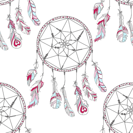 Dreamcatcher. Mystic symbol. Seamless pattern. Design. Hand drawn abstract patterns on isolation background. Design for spiritual relaxation for adults. Line art creation. Zen art