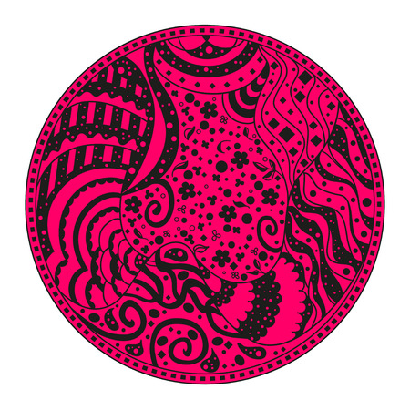 strip shirt: Mandala. Zentangle. Hand drawn circle zendala with abstract patterns on isolation background. Design for spiritual relaxation for adults. Line art. Outline for tattoo, printing on t-shirts, posters
