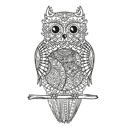 Owl. Zen art.   Detailed hand drawn vintage owl with abstract patterns on isolation background. Design for spiritual relaxation for adults. Black and white illustration for coloring. Stock Photo