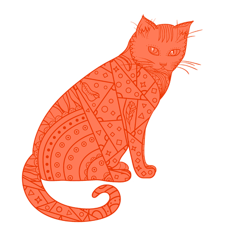 Cat. Design Zentangle. Hand drawn animal with abstract patterns on isolation background. Design for spiritual relaxation for adults. Decorative style. Print for polygraphy, posters and textiles