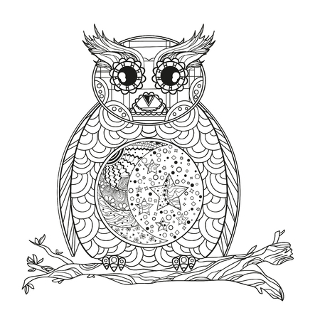 Owl. Mandala. Half moon and stars. Detailed hand drawn night owl with abstract patterns on isolation background. Design for spiritual relaxation for adults. Black and white illustration for coloring Stock Photo