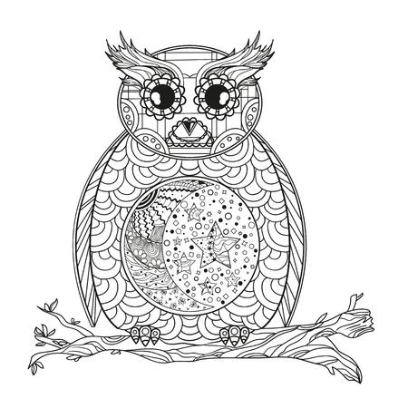 742 half mandala stock vector illustration and royalty free half  owl mandala half moon and stars detailed hand drawn night owl with abstract