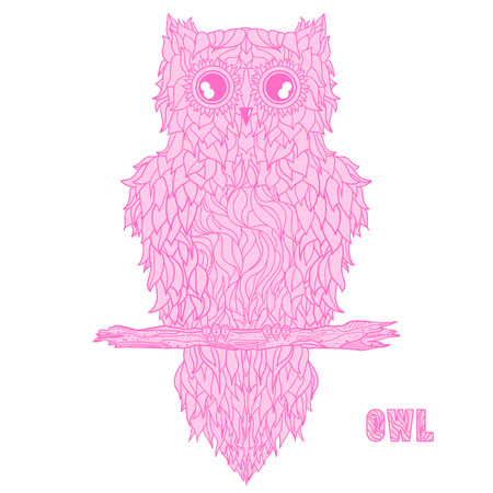 Owl. Detailed hand drawn vintage owl with abstract patterns on isolation background. Design for spiritual relaxation for adults. Outline for tattoo, printing on t-shirts, posters. Design Zentangle
