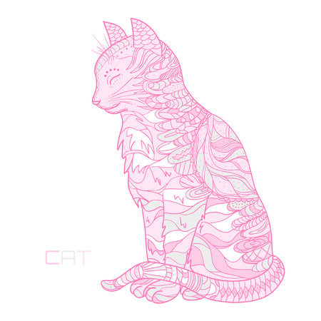 Cat. Hand drawn animal with abstract patterns on isolation background. Design for spiritual relaxation for adults. Decorative style. Print for polygraphy, t-shirts and textiles. Design Zentangle Stock Photo