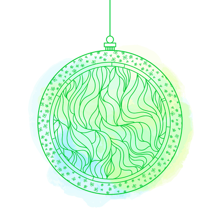 Christmas tree toy. Happy New Year.  . Watercolor stain. Hand drawn christmas ball with abstract patterns on isolation background. Design for spiritual relaxation for adults. Line art creation Фото со стока