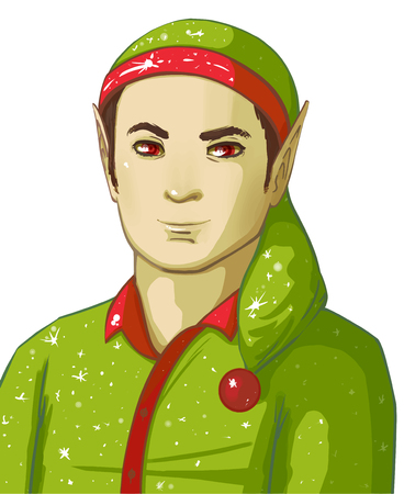 Elf Cartoon Character. Green elf on isolated background