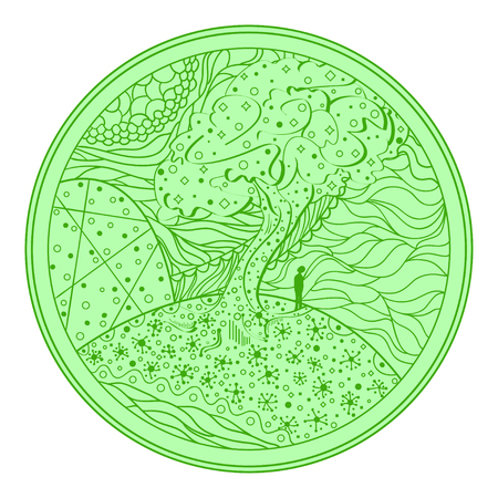 Mandala. Tree. Line background. Hand drawn lines. Texture. Abstract pattern. Doodle for design. Design for spiritual relaxation for adults. Print for polygraphy, posters, t-shirts and textiles