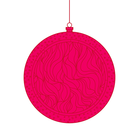 Christmas tree toy. Happy New Year. Zentangle. Hand drawn christmas ball with abstract patterns on isolation background. Design for spiritual relaxation for adults. Line art creation Stock Photo