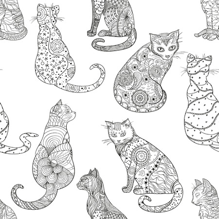 Cats. Seamless pattern. Hand drawn cat with abstract patterns on isolation background. Design for spiritual relaxation for adults. Zen art. Decorative style. Print for polygraphy Stock Photo