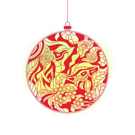 Christmas tree toy. Happy New Year. Zentangle. Watercolor stain. Hand drawn christmas ball with abstract patterns on isolation background. Design for spiritual relaxation for adults. Line art creation