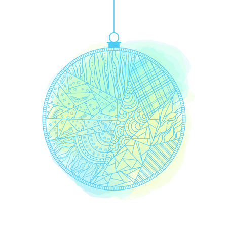 Christmas tree toy. Happy New Year.  Watercolor stain. Hand drawn christmas ball with abstract patterns on isolation background. Design for spiritual relaxation for adults. Line art creation Фото со стока