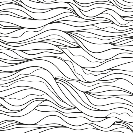 Background. Hand drawn lines. Hair texture. Monochrome wave pattern. Doodle for design. Line art. Illustration for coloring. Design for spiritual relaxation for adults. Black and white wallpaper Imagens