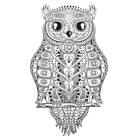 Detailed hand drawn vintage owl with abstract patterns on isolation background. Design for spiritual relaxation for adults. Outline for tattoo, printing on t-shirts, posters 免版税图像