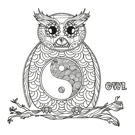 Owl. Yin and Yang. Mandala. Bird. Detailed hand drawn night owl with abstract patterns on isolation background. Design for spiritual relaxation for adults. Black and white illustration for coloring Stock Photo