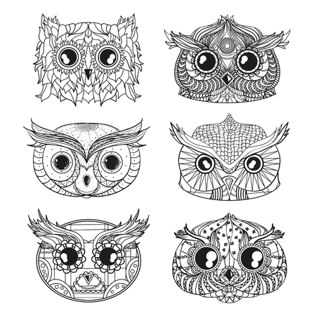 Owls. Heads. Design Zentangle. Hand drawn owl with abstract patterns on isolation background. Design for spiritual relaxation for adults. Black and white illustration for coloring. Zen art Stock Photo