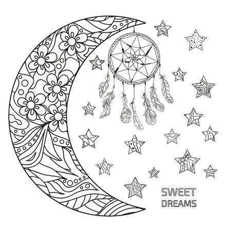Half moon and stars. Dreamcatcher. Abstract patterns on isolation background. Design for spiritual relaxation for adults. Sweet dreams. Black and white illustration for anti stress colouring page