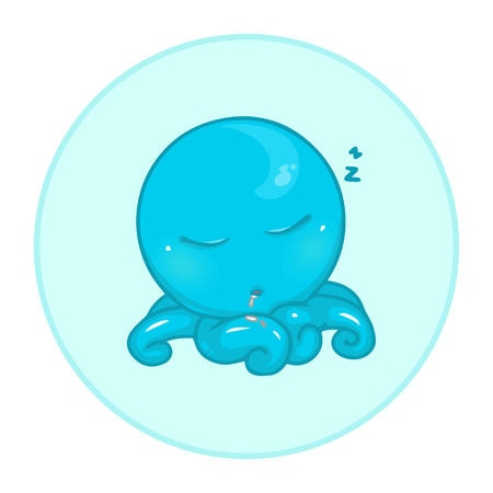 Funny blue octopus on the blue background. Funny animal. Cute web icon on isolated background. Cartoon character