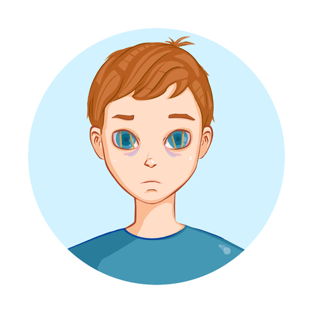 Tired and sick boy needs sleep. Illustration. Art creation. Web icon Illustration