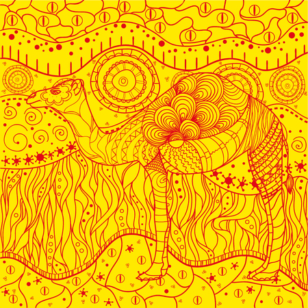 Camel. Mandala. Zentangle. Hand drawn mandala with abstract patterns on isolation background. Design for spiritual relaxation for adults. Outline for tattoo, printing on t-shirts, posters and other