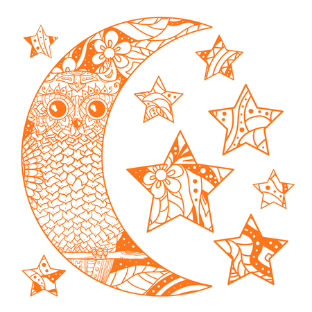 Moon and stars with abstract patterns on isolation background. Crescent. Owl. Bird. Design for spiritual relaxation for adults.  Print for textiles, fabrics, polygraphy, posters, t-shirts. Zen art