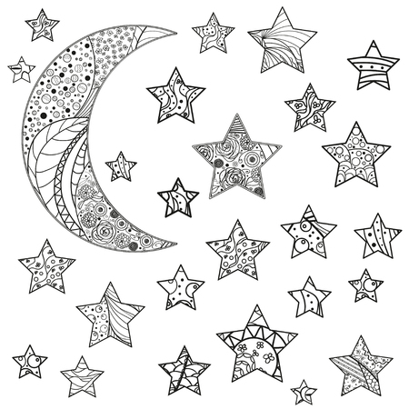 Set of vector stars. Zen art. Art creative. Illustration. Abstract patterns on isolation background. Design for spiritual relaxation for adults. Line art creative. Doodle for design 向量圖像