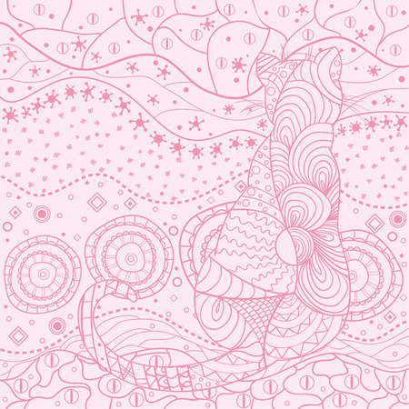 Cat. Eastern square pattern. Mandala. Hand drawn circle zendala with abstract patterns on isolation background. Design for spiritual relaxation for adults. Outline for tattoo, printing on t-shirts