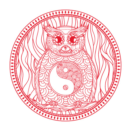 Owl. Circle mandala. Yin and Yang. Detailed hand drawn vintage owl with abstract patterns on isolation background. Design for spiritual relaxation for adults. Outline for tattoo, printing on t-shirts
