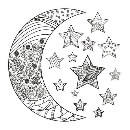 Moon and stars with abstract patterns on isolation background. Design for spiritual relaxation for adults. Line art creation. Black and white illustration for anti stress colouring page. Print t-shirt Illusztráció