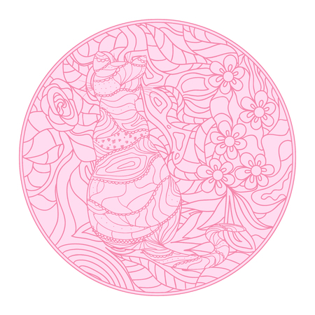 Cat. Eastern circle pattern. Mandala. Hand drawn circle zendala with abstract patterns on isolation background. Design for spiritual relaxation for adults. Outline for tattoo, printing on t-shirts Иллюстрация
