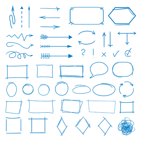 Infographic elements. Big set of different signs on isolation background. Hand drawn simple elements. Highlighters for design. Line art. Abstract circles, arrows and rectangle frames. Doodles for work Ilustração