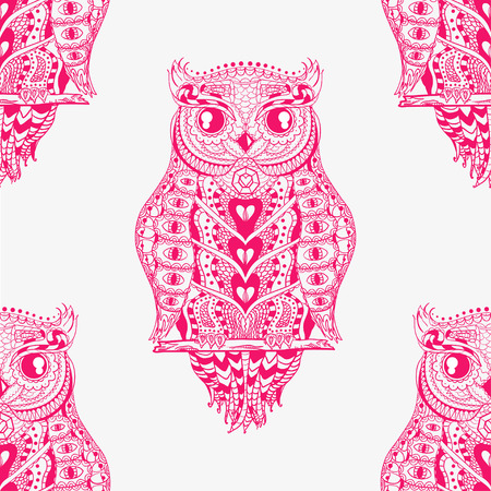 Owl seamless pattern. Hand drawn abstract patterns on isolation background. Zen art. Decorative style. Design for spiritual relaxation for adults. Line art creation. Art creative