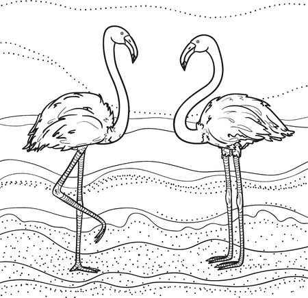 抽象的な壁紙。フラミンゴ。風景。孤立した背景に手描きの鳥。 大人のための精神的なリラクゼーションのためのデザイン。カラーリング用の白黒イラスト。ポリグラフィー、Tシャツ用プリント