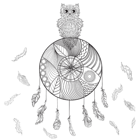 Dreamcatcher with owl. Zentangle. Abstract patterned bird. American indians symbol. Line art. Mystic symbol. Print for polygraphy and textiles. Zen art. Design for spiritual relaxation for adults