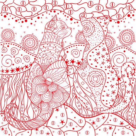Zen cat. Eastern square pattern. Mandala. Hand drawn ornate wallpaper with abstract patterns. Design for spiritual relaxation for adults. Outline for tattoo, printing on t-shirts. Design Zentangle Ilustração
