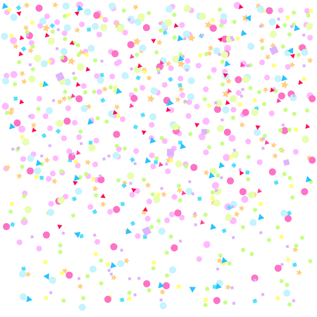 Abstract texture with random falling geometric elements. Geometrical background with confetti. Pattern for design. Pretty colors. Print for polygraphy, posters, t-shirts and textiles. Greeting cards