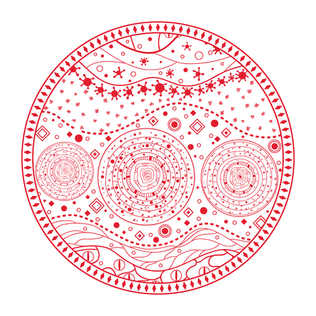 Hand drawn circle mandala on isolation background. Design for spiritual relaxation for adults. Line art creation.