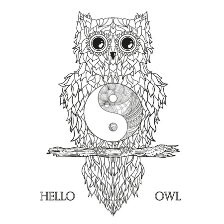 Owl on the branch. Design Zentangle. Tattoo art. Yin and Yang. Abstract feathers. Print for t-shirts and textiles. Design for spiritual relaxation for adults. Zen art. Outline for tattoo. Printing