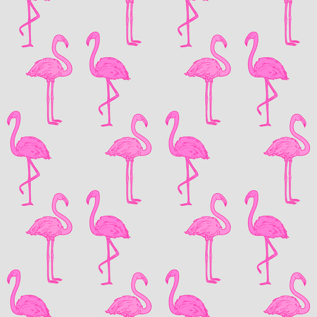 Seamless abstract wallpaper with flamingos.