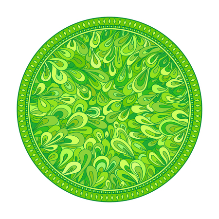 Circle zendala. Line background. Hand drawn mandala. Tribal texture. Vegetable floral pattern.