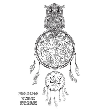 Dreamcatcher. Tattoo art, mystic symbol. Print for polygraphy, posters and textiles. American Indians symbol. Design for spiritual relaxation for adults. Black and white illustration for coloring.