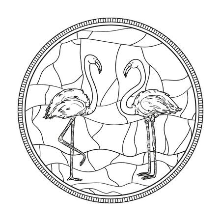 サークルマンダラ。フラミンゴ。風景。孤立した背景に手描きの鳥。大人のための精神的なリラクゼーションのためのデザイン。カラーリング用の白黒イラスト。手描きステンドグラス窓