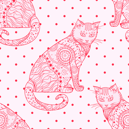 Cat. Seamless pattern. Zentangle. Hand drawn cat with abstract patterns on isolation background. Design for spiritual relaxation for adults. Line art creative. Outline. Printing on t-shirts Illustration