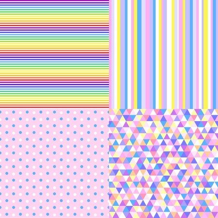 Set of seamless multicolored geometric abstract patterns. Illustration