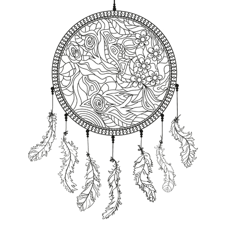 Dreamcatcher. Feathers. Abstract mystic symbol. American indians symbol. Zen art. Design for spiritual relaxation for adults. Line art creation. Black and white illustration for coloring