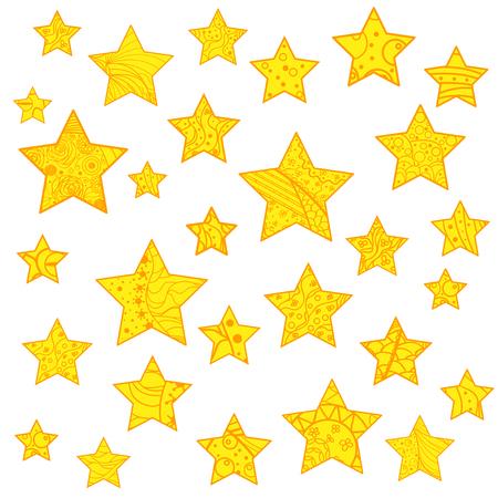 Star. Set of bright stars. Zen art. Design. Art creative. Illustration. Abstract patterns on isolation background. Design for spiritual relaxation for adults. Line art. Doodle for design Ilustração