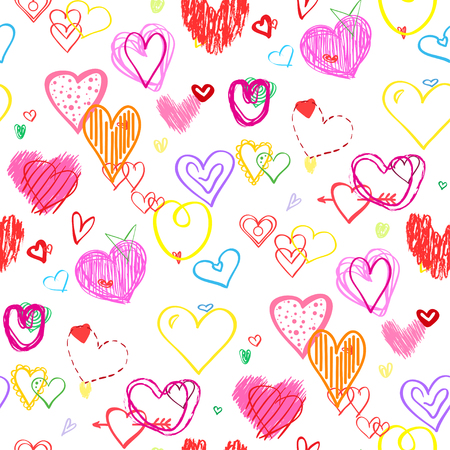Hand getekend veelkleurige harten. Abstracte achtergrond. Naadloze textuur. Lijn kunst. Set van liefdesborden. Unieke illustratie voor ontwerp. Line art creatie