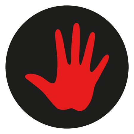 Hand circle web icon on isolation background. Hand drawn doodle