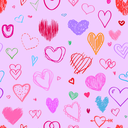 Seamless background with colored hearts. Abstract wallpaper. Hand drawn big and small love signs. Collection. Line art. Print for polygraphy, posters, t-shirts and textiles Illusztráció